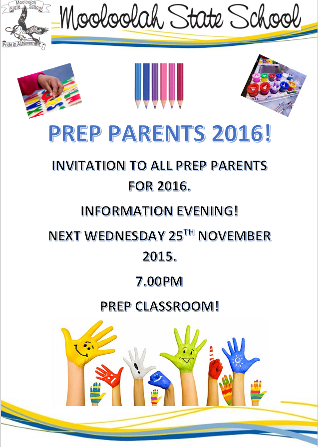 2016 Prep Information Evening